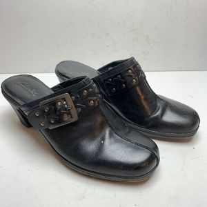 CLARKS Black Mules Chunky Heels Leather Shoes sz 8